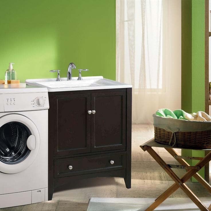 Laundry Sink And Vanity : Stufurhome GM-Y01 30.50-in Expresso Laundry Single Sink Vanity