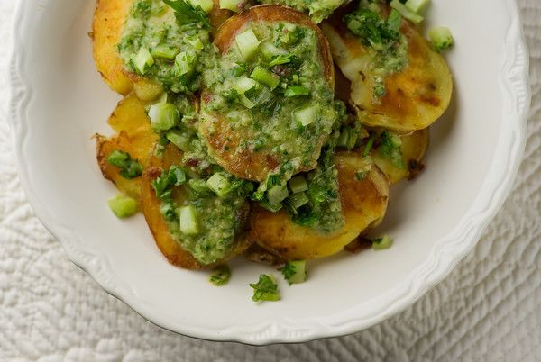 Crispy Potato Salad With Anchovy Chimichurri Recipe — Dishmaps