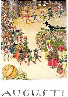 August by Elsa Beskow, Jag älskade vinbärsörhängena när jag var liten. Älskarfortfarande röda vinbär.