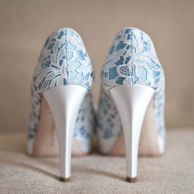 Blue bridal shoes with lace details. Photographed by Trevor Jenkins.