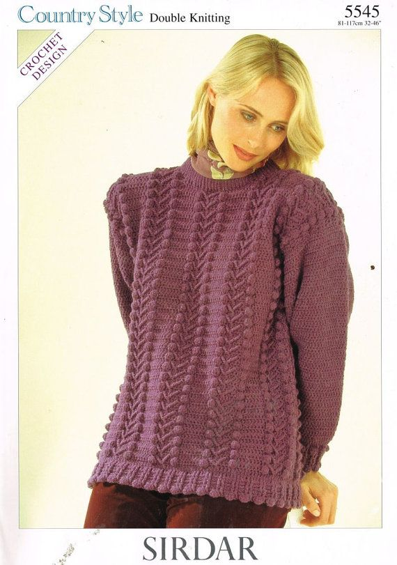 Crochet Patterns Jumper : Sirdar 5545 ladies crochet jumper vintage pattern by Ellisadine, ?1 ...