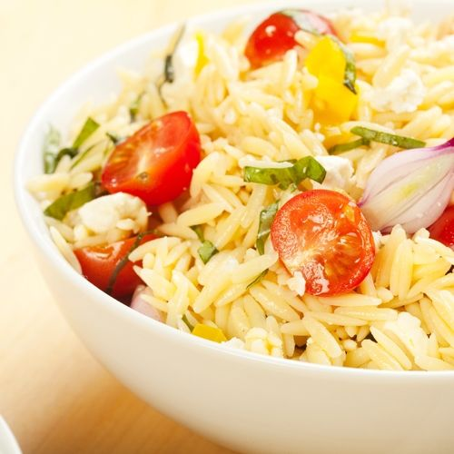 Orzo salad with tomatoes, basil and feta | Salads | Pinterest