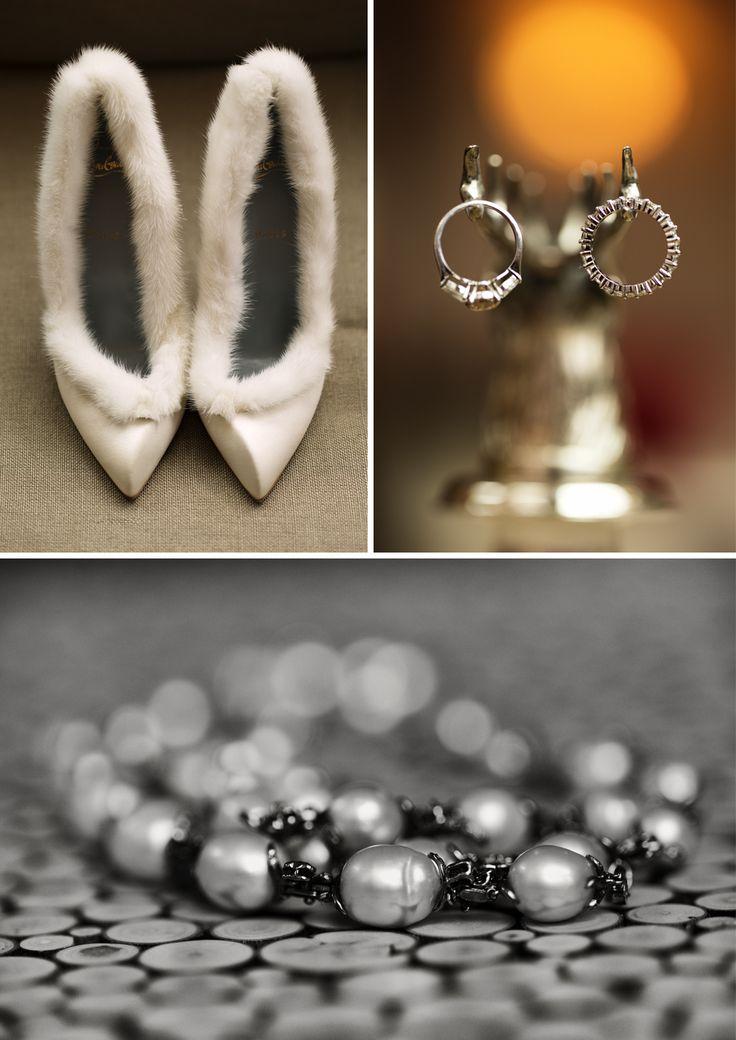 Fur-trimmed shoes for an Aspen wedding