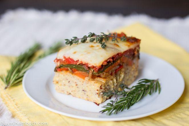 Baked polenta with roasted vegetables [Vegetarian]