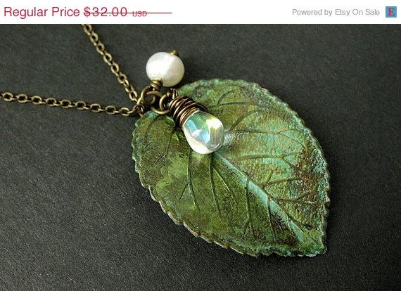 Green Leaf Charm by StumblingOnSainthood on Etsy, $28.80