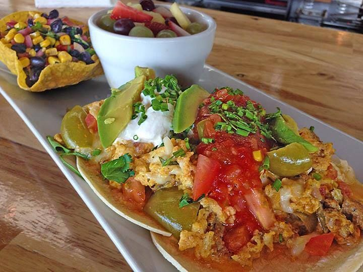 "TEX MEX SCRAMBLE:"" --> Scrambled Eggs, Chorizo, Tomatillos, Monterey ..."