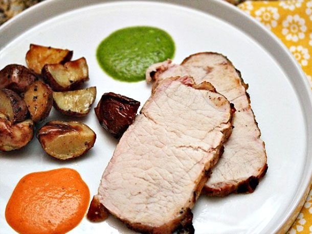 Grilled Pork Loin with Wrinkled Potatoes, Mojo Verde and Mojo Picón ...