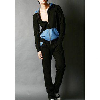 Modern style splicing color block hooded long sleeves zipper design