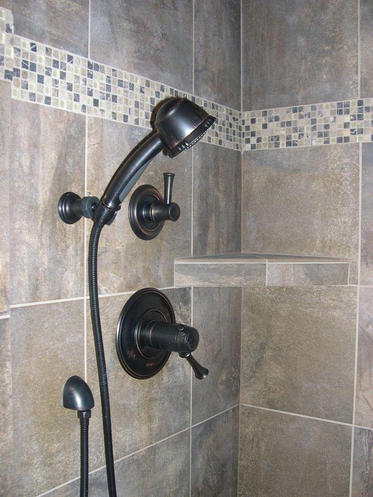 tile shower with corner shelf new house pinterest. Black Bedroom Furniture Sets. Home Design Ideas
