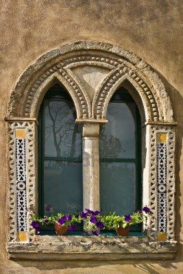Villa Cimbrone window, Ravello, Italy