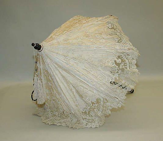 """Parasol: ca. 1845, silk, cotton, metal, semi-precious stones, pearls, ivory. Marking: [label] """"Verdier"""""""