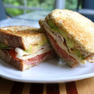 Chicken And Club Sandwich With Avocado And Chipotle Caramelized Onions ...