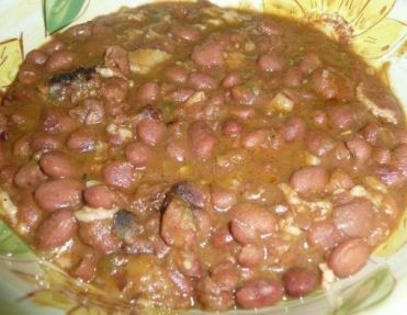 ... pinto beans, bacon, onions, garlic, Serrano peppers, jalapeno peppers