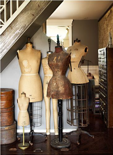 A collection of beautifully time worn dress forms #vintage #dress_form #sewing