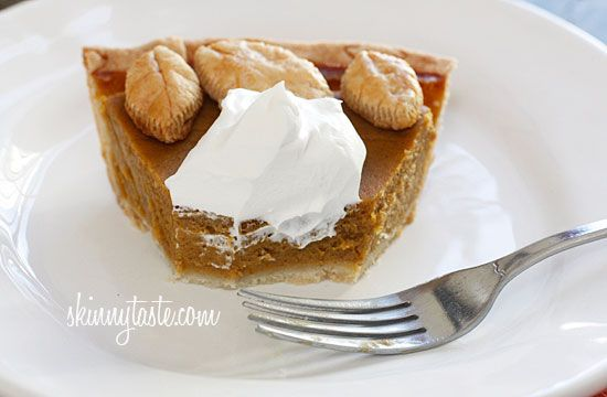 Skinny Pumpkin Pie - the filling is lightened up, but no one will ever ...