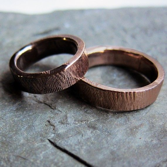 bronze bark wedding band ring set quot fall quot in