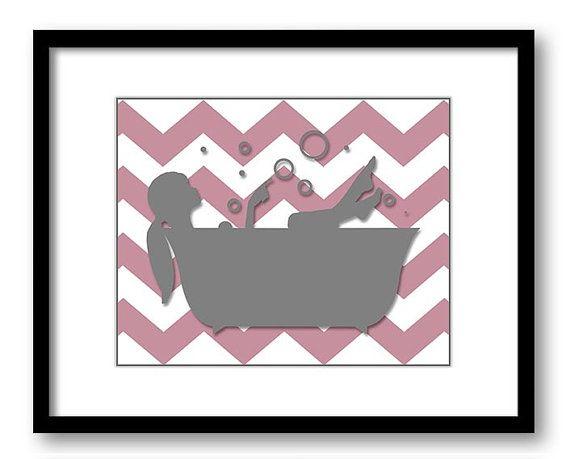 Bathroom Decor Bathroom Print Rose Pink And Grey Chevron Girl In A Ba