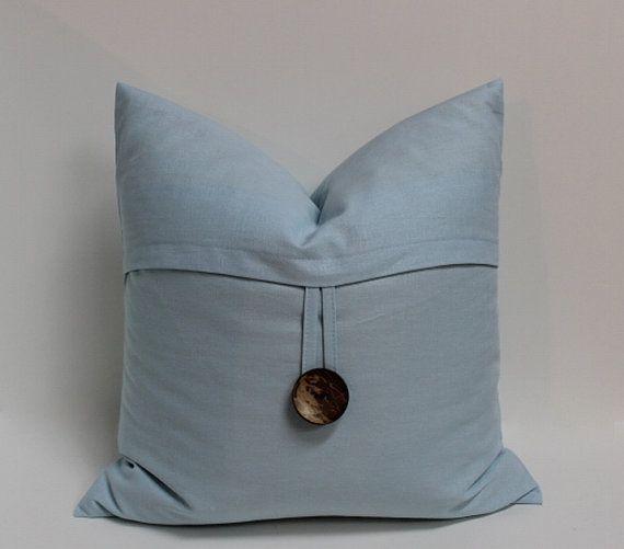 Light blue linen coconut button pillow cover, 18 inch decorative sofa?