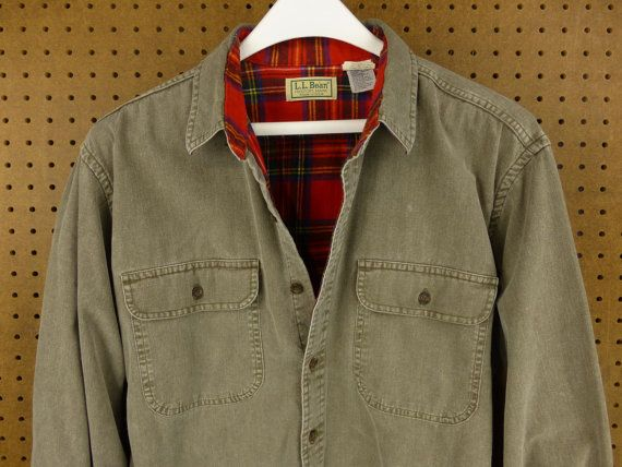 Vintage usa made ll bean flannel lined twill work shirt for Usa made work shirts