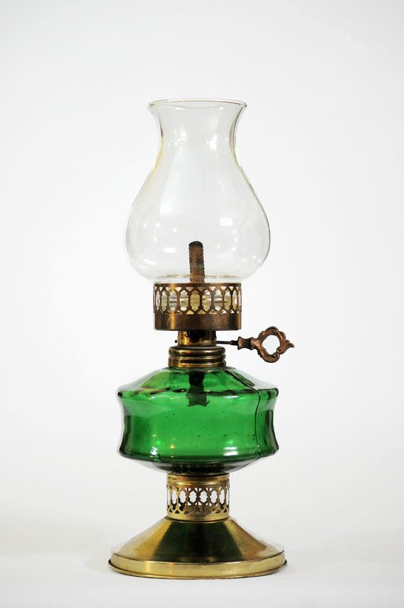 Antique Oil Lamp Brass With Green Glass And Skeleton Key