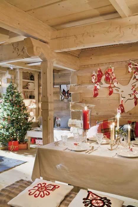 Ambiance de no l dans un chalet de bois maison d co et - Deco noel ambiance chalet ...