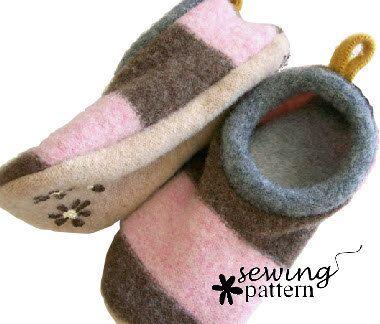 Wool Sweater Felt Slipper Pattern 121