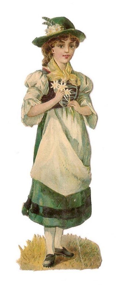 La Jeune Fille - - Fleurs Chapeau Tablier  - Chromo Decoupi  - Victorian Scrap