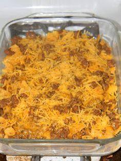 lb ground beef, 1 pkg taco seasoning mix, Fritos, Shredded Cheddar ...