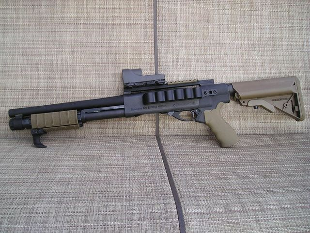 Remington 870 with Mesa Tactical High Tube Stock Adapter (available for Mossberg