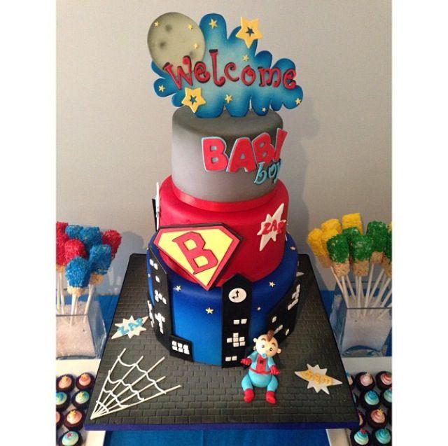 superhero themed baby shower cake cake superhero spiderman baby