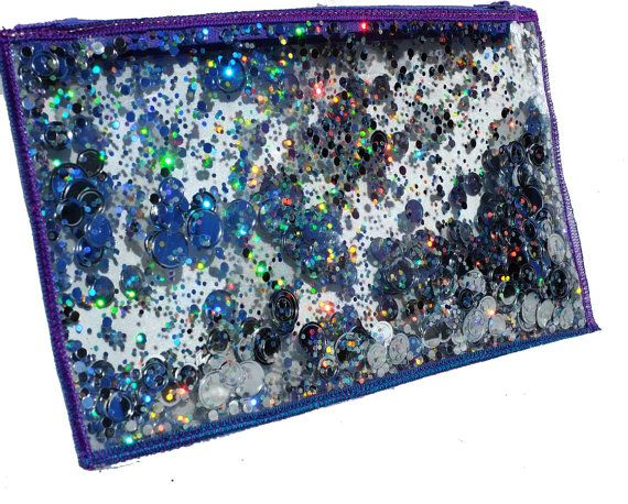 Holographic Glitter Cosmetic Bag Zippered Pencil Case