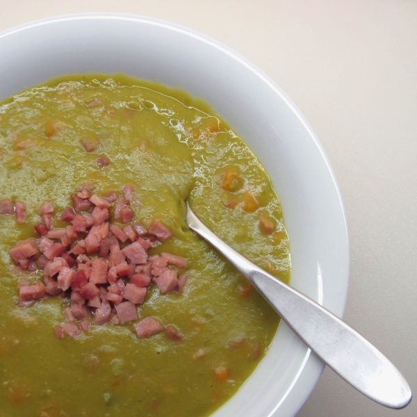 Julia Child's split pea soup - so amazing. dont skip the ham on top ...