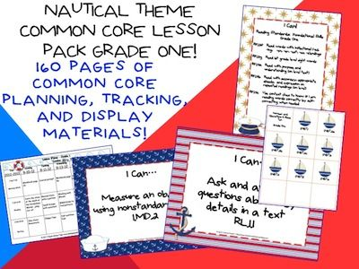 This lesson pack contains everything you will need to teach, track, and display the Common Core State Standards for Grade One! With 160 pages in the Nautical Theme!  $5.99  http://www.theorganizedclassroomblog.com/index.php/ocb-store/view_document/247-nautical-theme-grade-one-common-core-lesson-planning-pack