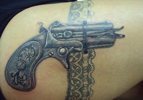 Gun Holster Thigh Tattoo