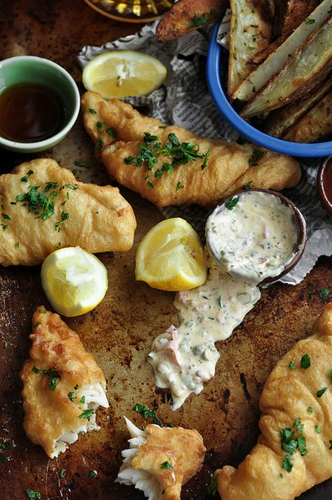 Beer battered fish and chips recipe dishmaps for Fish chips recipe