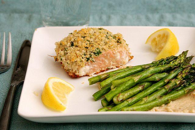 Panko-crusted Salmon - very similar to my recipe, but I use mayonnaise ...