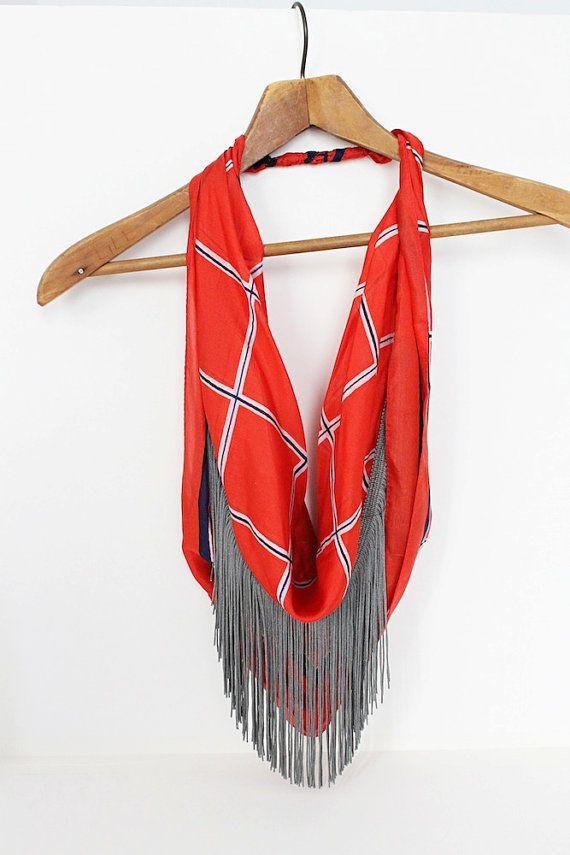red hot hunter velvet fringe scarf from lilianasterfield on #etsy