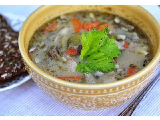 and mixed rice chowder is loaded with carrots, celery and mushrooms ...