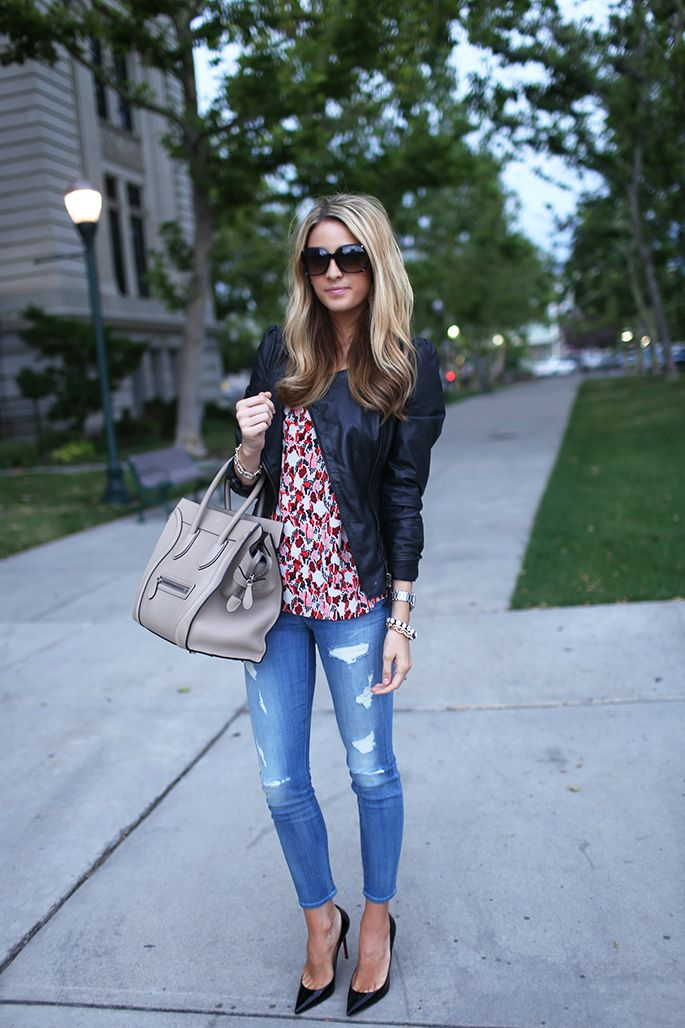 "From ""Ivory Lane"" blog - fall casual look: easy distressed denim, faux leather jacket, red Joie top, neutral bag, pumps"