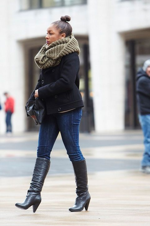 Knee-high boots over jeans | My Style | Pinterest