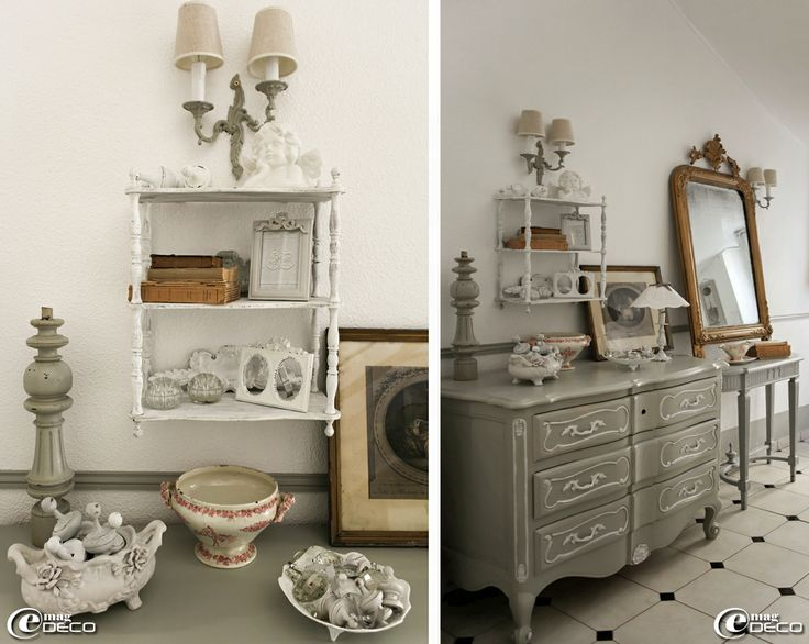 Deco Chambre Couleur Bleu : Gray Dresser with White Accent in Gustavian Home via emagdeco