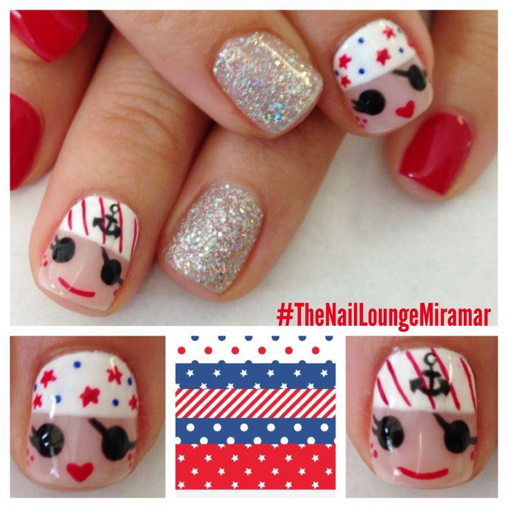 Red white & blue pirate gel nail art | *AngieZ StyleZ* | Pinterest