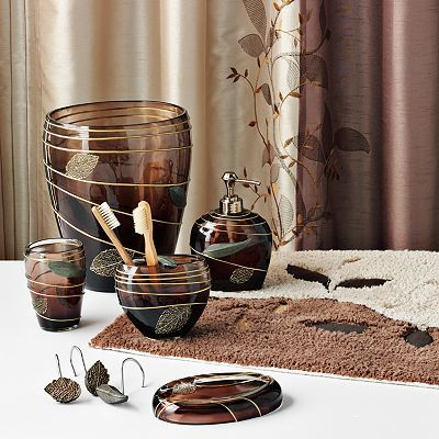 Matching Bathroom Fixtures : Leaf Bath Accessories - I got the shower curtain, rug and matching ...