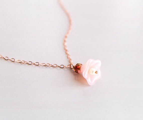 Blush lily necklace pink czech glass flower rose gold filled chain