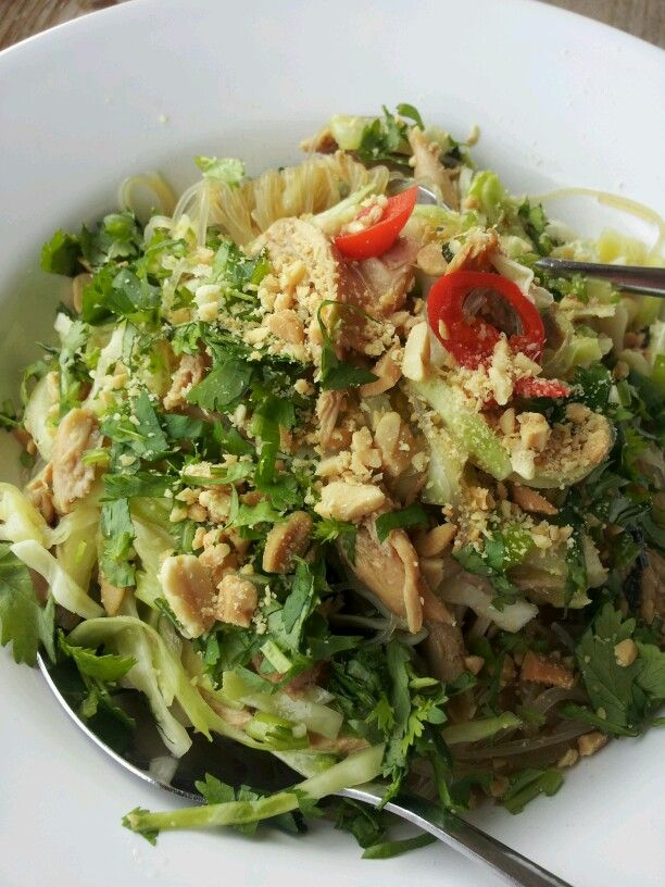 Goi Ga, Vietnamese poached chicken, cucumber and cabbage salad with ...