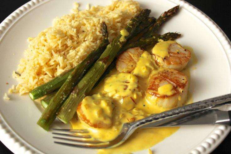 Scallops in Saffron-Cream Sauce | Seafood | Pinterest
