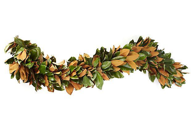7 39 fresh magnolia garland for Fresh garland on banister