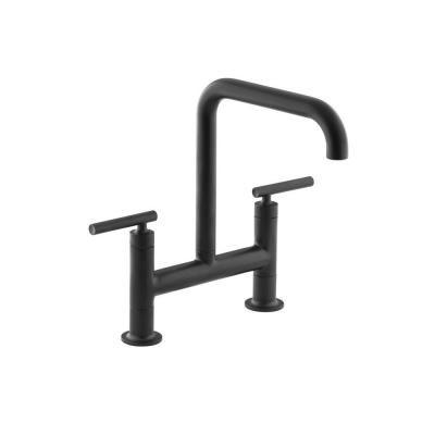 KOHLER Kitchen Purist 2-Handle Kitchen Faucet in Matte Black 7547-4-BL