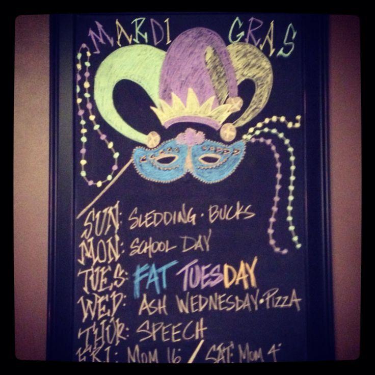 Mardi gras fat tuesday march begins weekly chalkboard ideas pi