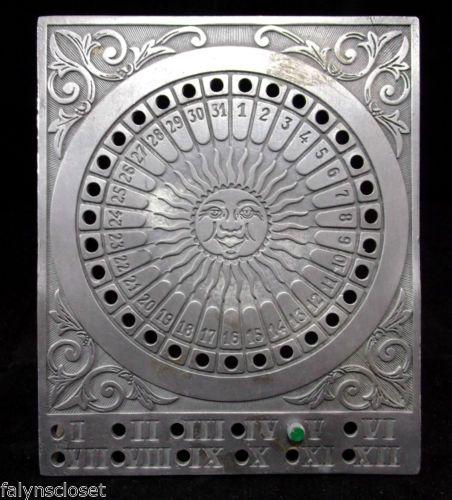 Block Zinn Pewter Perpetual Calendar Sundial 1920s Zodiac Germany ...